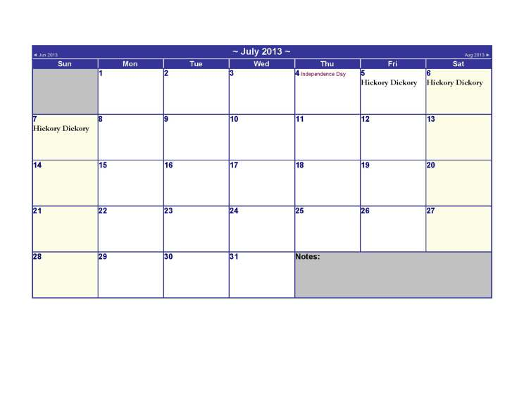 July 2013 Calendar US Holidays