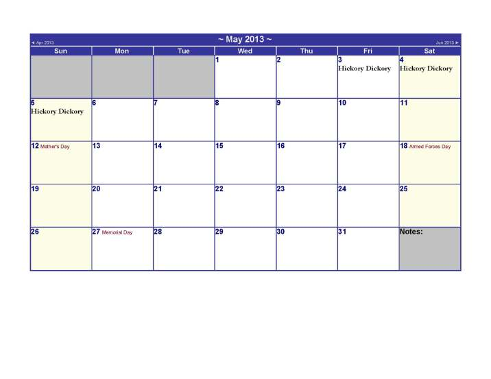 May 2013 Calendar US Holidays